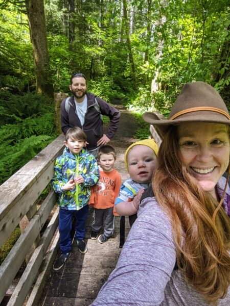 The owner of Mamalou Bakeshop and her family on a hike near Corvallis, Oregon